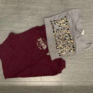 Victoria's Secret PINK Pajama Set   Leopard Maroon